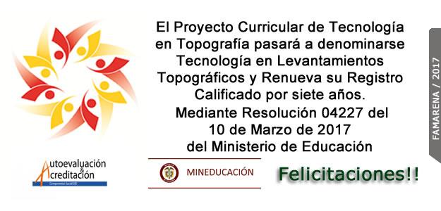 Renovación Registro Calificado Tecnología en Levantamientos Topográficos.